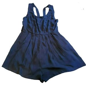 Navy Blue Pleated Romper